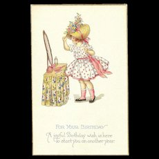A Joyful Birthday Stetcher Series 980 D Spring time Girl in dress and bonnet