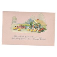 Glad Remembrance Dressed Easter Ducks Vintage Pink Postcard