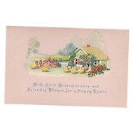 Glad Remembrance Dressed Easter Ducks Vintage Pink Postcard