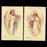Set of 2 Early Unsigned Ellen Clapsaddle Easter Angel Postcards by Wolf