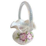 Fenton White basket with colorful hand painted pansy design