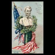 Raphael Tuck No 107 Embossed Abraham Lincoln American Flag Statue Patriotic Postcard