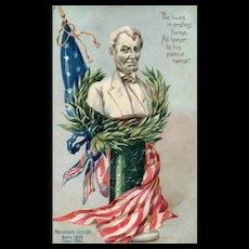 Raphael Tuck No 107 Embossed Abraham Lincoln American Flag Statue Patriotic Postcard
