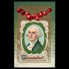 564 Gold Metallic George Washington Portrait Surrounded By Stars and Red Cherries Patriotic Postcard
