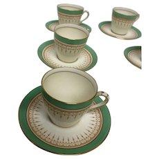 Royal Doulton DUKE OF YORK-GREEN 6 Cups & Saucers