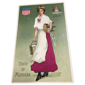State of Michigan Silk Patriotic Woman Milk bucket and stool vintage Postcard