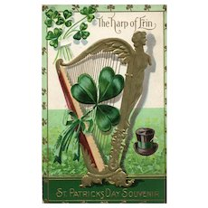 St Patrick Day  Series No 6 Vintage Nash Postcard The Harp of Erin