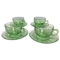 Vintage Shamrock Irish Green Depression Glass Tea Coffee Cups Saucers Set of 4