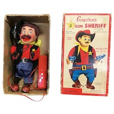 Vintage 1950's Cragstan's 2 Gun Sheriff Battery Operated 90265 Toy