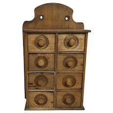Vintage Primitive Wood Farmhouse 8 Drawer Spice Cabinet