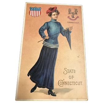 State of Connecticut Patriotic vintage Woman with Pennant