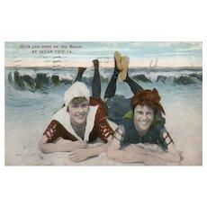 1915 Girls you meet on the Beach Ocean View VA Virginia vintage postcard