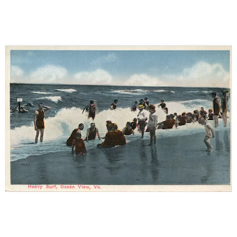 Fun Vintage Summer Beach scene Heavy Surf Ocean View VA Virginian Vintage postcard