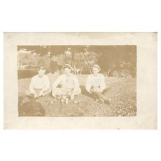 1918 Real Photo Men in Game of Crochet with balls and mallets vintage postcard