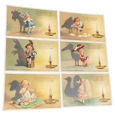 Spectacular Set of 6 Swift Soap Series Vintage Advertising Shadow Postcards