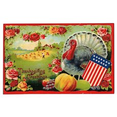 1910 Patriotic Thanksgiving Postcard with Flag Shield and Colorful design