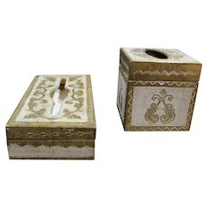 Vintage Gold Gilt Wood Florentine Tissue Box Set