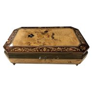 "Vintage Hand inlaid Lacquered ""Reuge Music"" Box Jewelry Chest"