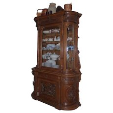 Antique Belgium Oak Wood Handmade and Handcarved China Cabinet