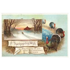 Signed Ellen Clapsaddle Thanksgiving Wish Vintage Postcard 2445