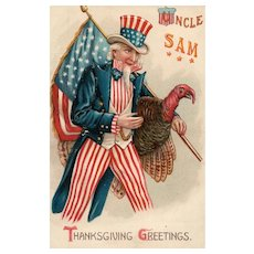 Stunning Patriotic Uncle Sam Thanksgiving Greeting vintage Postcard