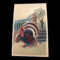 Heavy Embossed Thanksgiving Greeting Turkey Vintage Postcard