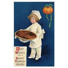 1910 Signed Ellen Clapsaddle Vintage Thanksgiving Postcard Chef with a Pie