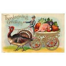 BLACK FRIDAY SPECIAL!    Patriotic Thanksgiving Uncle Sam with Turkey Cart  Postcard
