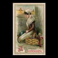 BLACK FRIDAY Special!  John Winsch 1910 Peaceful Thanksgiving Pilgrim Woman postcard