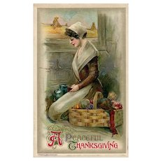 BLACK FRIDAY Special!  John Winsch 1910 Peaceful Thanksgiving Pilgrim Woman postcard