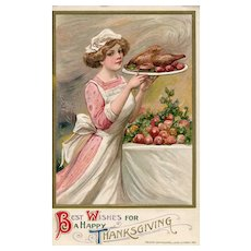 BLACK FRIDAY SPECIAL! John Winsch Woman Serving Turkey  Thanksgiving    Postcard