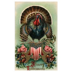 BLACK FRIDAY SPECIAL!    Patriotic Thanksgiving  Turkey  Postcard