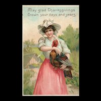 Black Friday - Ellen Clapsaddle Thanksgiving Woman with Turkey Vintage Postcard