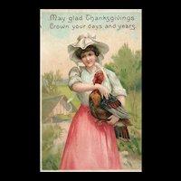 Ellen Clapsaddle Thanksgiving Woman with Turkey Vintage Postcard