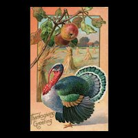 Thanksgiving vintage Turkey Postcard  - Apple Tree Harvest