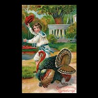 Lovely vintage Colorful Thanksgiving Postcard Boy Turkey