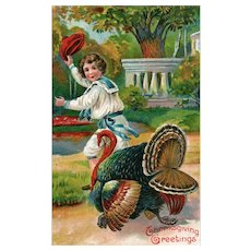 Lovely vintage Colorful Thanksgiving Postcard Boy Turkey