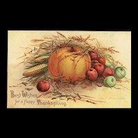Signed Ellen Clapsaddle Thanksgiving Best Wishes Scarce Pumpkin Postcard