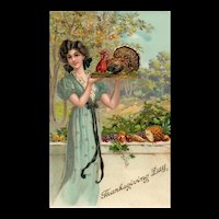Gold Gilt Gel Beautiful Woman Serving Turkey Thanksgiving Day Postcard