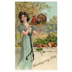 Gold Gilt Gel Beautiful Woman Serving Turkey Thanksgiving Day Postcard