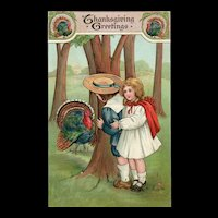 Adorable Thanksgiving Greetings Turkey and Little Couple Hiding Postcard