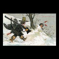 Vintage His Thanksgiving Pilgrim Hunting Turkey Indian Hiding Humorous Postcard