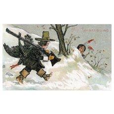 Vintage His Thanksgiving Pilgrim Hunting Turkey Indian Hiding Humorous Postcard