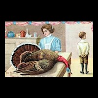 Patriotic Vintage Old Bird Turkey Woman Serving Thanksgiving Dinner Postcard