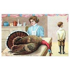 Patriotic Vintage Old Bird Turkey Woman Serving Thanksgiving Dinner Postcard