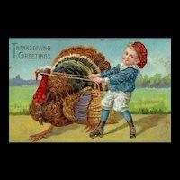 Vintage Playful Little Boy Tugging Colorful Turkey Gold Gilt Gel Thanksgiving Greetings Postcard