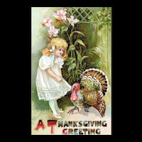 Adorable Thanksgiving Greetings Fancy Little Girl and Colorful Turkey Postcard