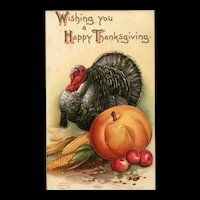 Antique Wishing You a Happy Thanksgiving Turkey and Pumpkin Postcard
