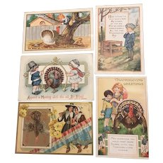 Irresistible Lot of 5 Vintage Thanksgiving Postcards Whitney