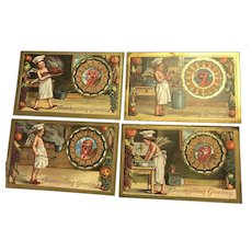 Lot of 4 Thanksgiving  Series 226 ,228,229,231 Angel Chef vintage postcard